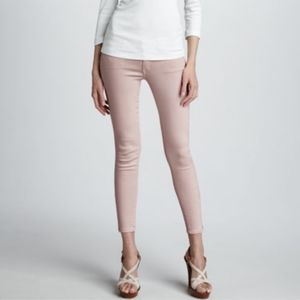 Mother The Looker Crop Skinny Pastel Pink Jeans